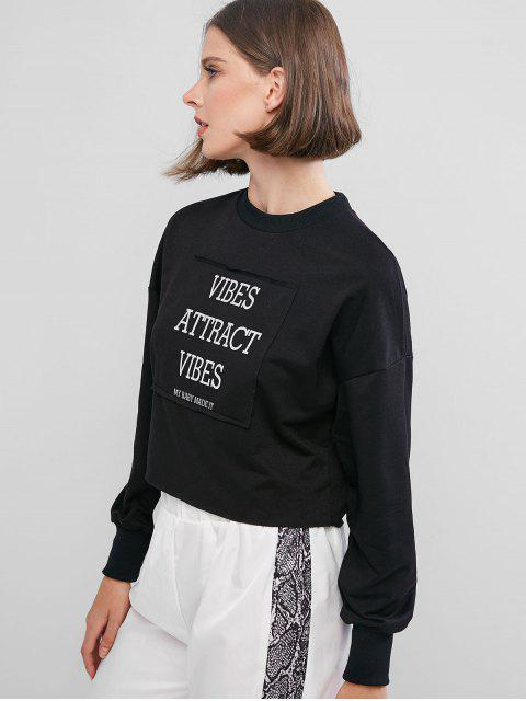 women Reflective Letter Drop Shoulder Raw Hem Sweatshirt - BLACK L Mobile