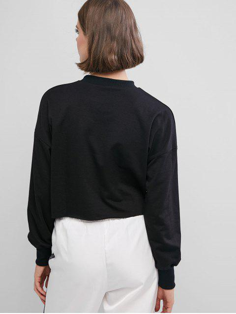 fashion Reflective Letter Drop Shoulder Raw Hem Sweatshirt - BLACK M Mobile