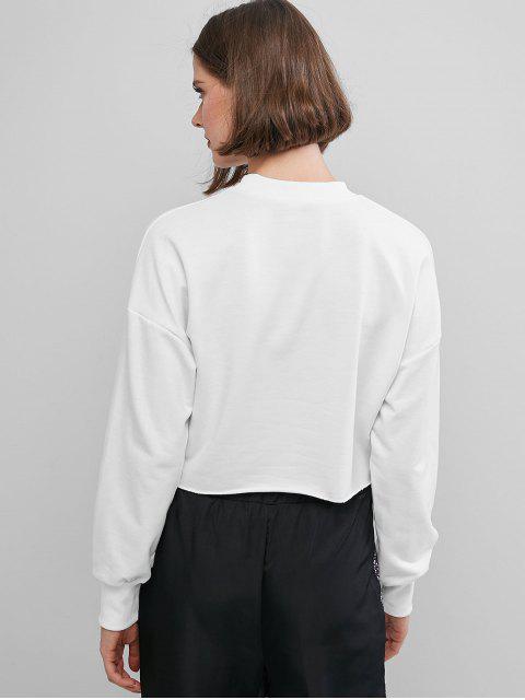 affordable Reflective Letter Drop Shoulder Raw Hem Sweatshirt - WHITE S Mobile