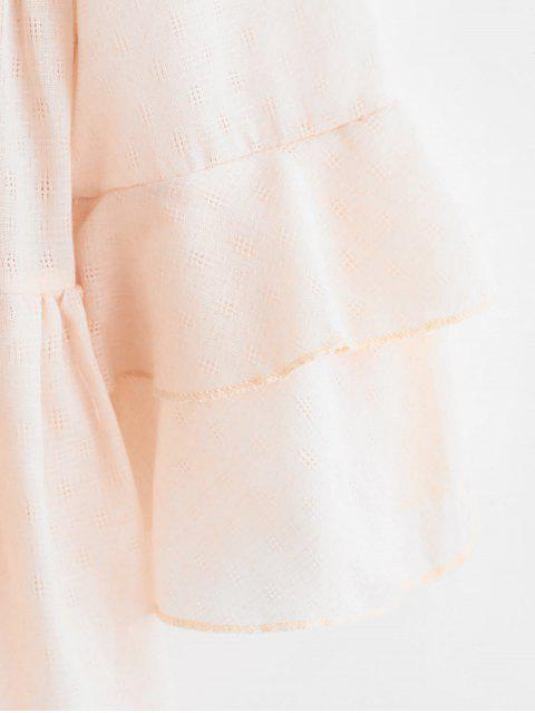 women Bell Sleeve Longline Smock Blouse - PINK S Mobile