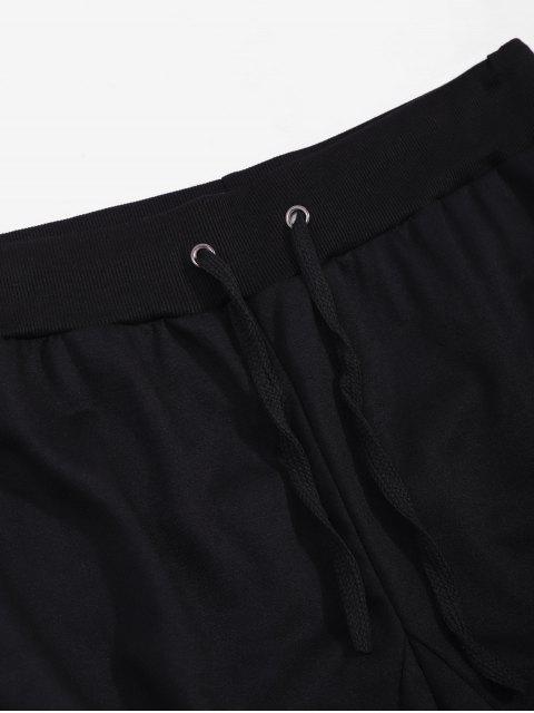 側翼掌上絲帶運動拼接鉛筆褲 - 黑色 2XL Mobile