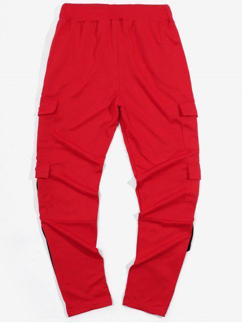 側翼掌上絲帶運動拼接鉛筆褲 - 紅 XL Mobile