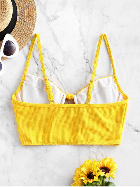 hot ZAFUL Ribbed Knotted Underwire Longline Bikini Top - YELLOW S Mobile