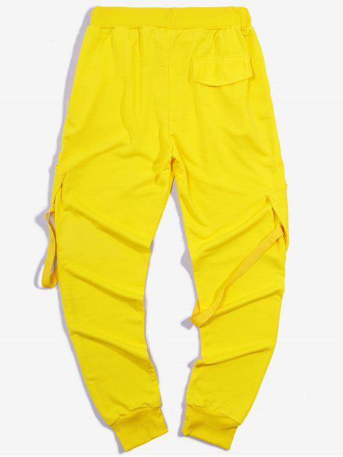 unique Ribbon Pockets Long Elastic Sport Cargo Pants - YELLOW M Mobile