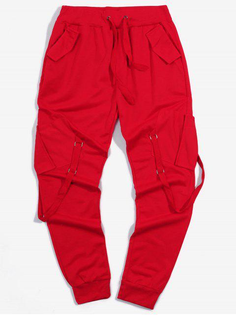 Pantalones Deportivos Elásticos con Bolsillos de Cinta - Rojo 3XL Mobile