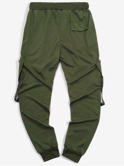 Pantalones Deportivos Elásticos con Bolsillos de Cinta - Ejercito Verde 2XL Mobile