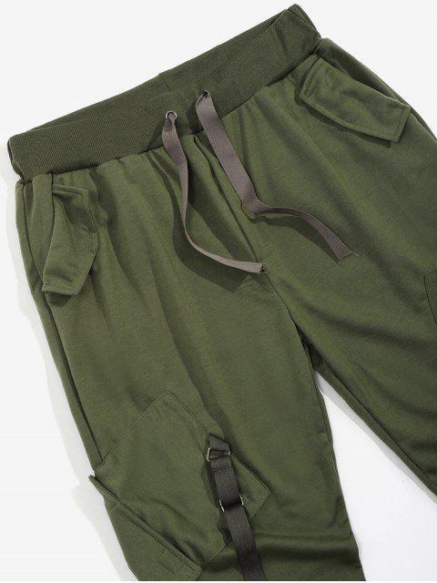 new Ribbon Pockets Long Elastic Sport Cargo Pants - ARMY GREEN L Mobile