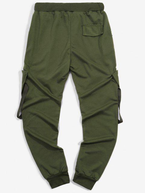 Pantalones Deportivos Elásticos con Bolsillos de Cinta - Ejercito Verde M Mobile