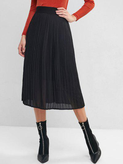 Accordion Pleated High Waisted A Line Skirt - Black L