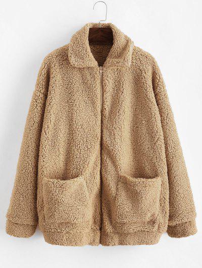 ZAFUL X Yasmine Bateman Pocket Zipper Drop Shoulder Fluffy Teddy Coat - Brown Sugar L