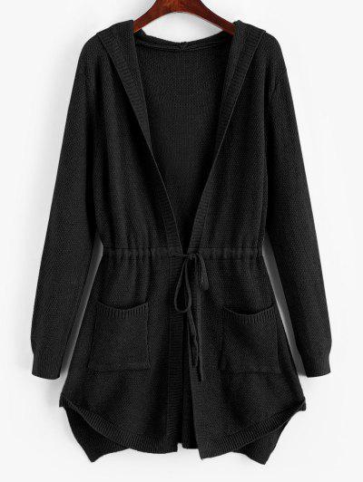 Longline Hooded Drawstring Pockets Cardigan - Black