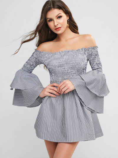 Smocked Stripes Layered Sleeve Off Shoulder Dress - Multi-a 2xl