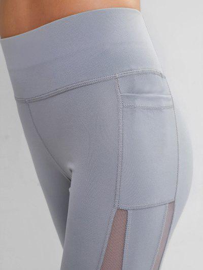 Side Pockets Mesh Insert High Waisted Leggings, Light gray
