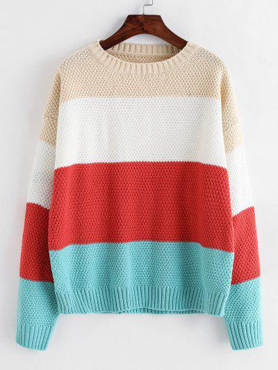 ZAFUL Color-blocking Drop Shoulder Textured Sweater - Multi-a