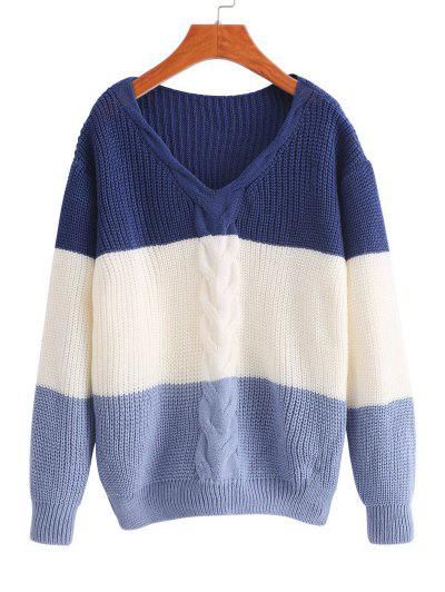 V Neck Colorblock Cable Knit Sweater - Multi-b
