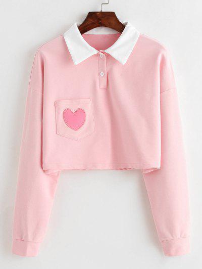 Sudadera Corta Con Bolsillo De Corazón Con Medio Botón - Rosado S