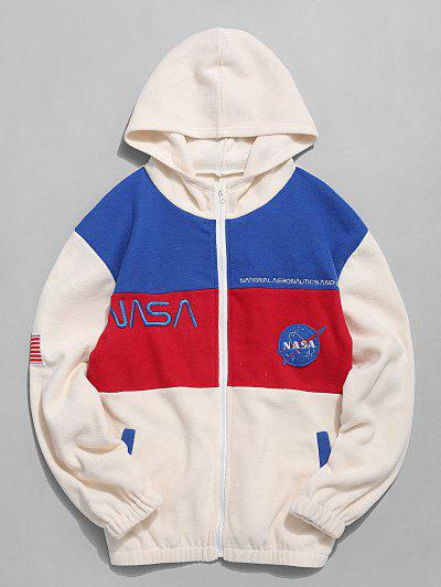 American Flag Letter Print Casual Jacket - Warm White L