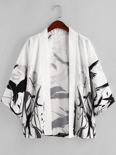 Floral Bird Painting Plant Print Open Front Kimono Cardigan - White L