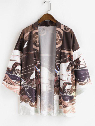 Nautical Sailboat Graphic Drop Shoulder Kimono Cardigan - Brown L