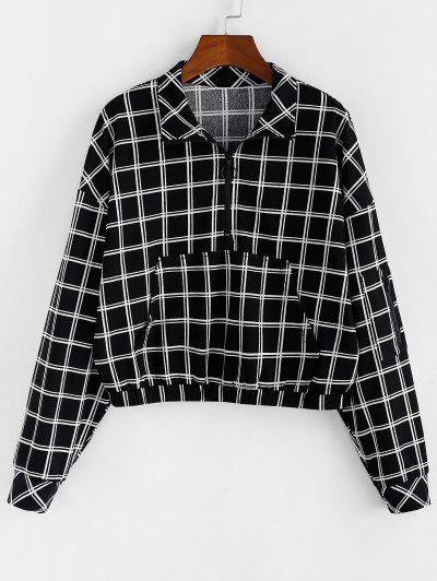 ZAFUL Sweat-shirt Demi-Zip à Carreaux Avec Poche En Avant - Noir S