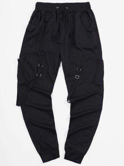 Ribbon Pockets Long Elastic Sport Cargo Pants - Black M