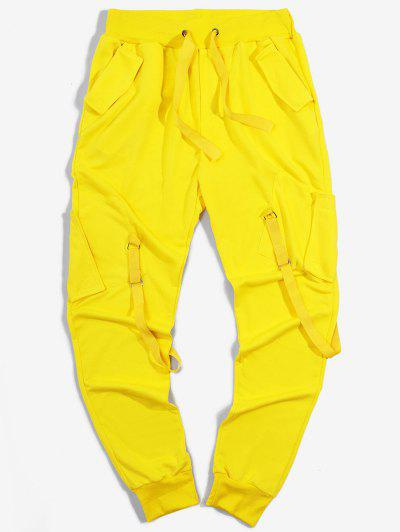 Pantalon Cargo De Sport Elastique Long Ruban Avec Poches - Jaune M