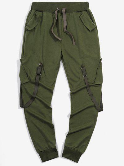 Ribbon Pockets Long Elastic Sport Cargo Pants - Army Green L