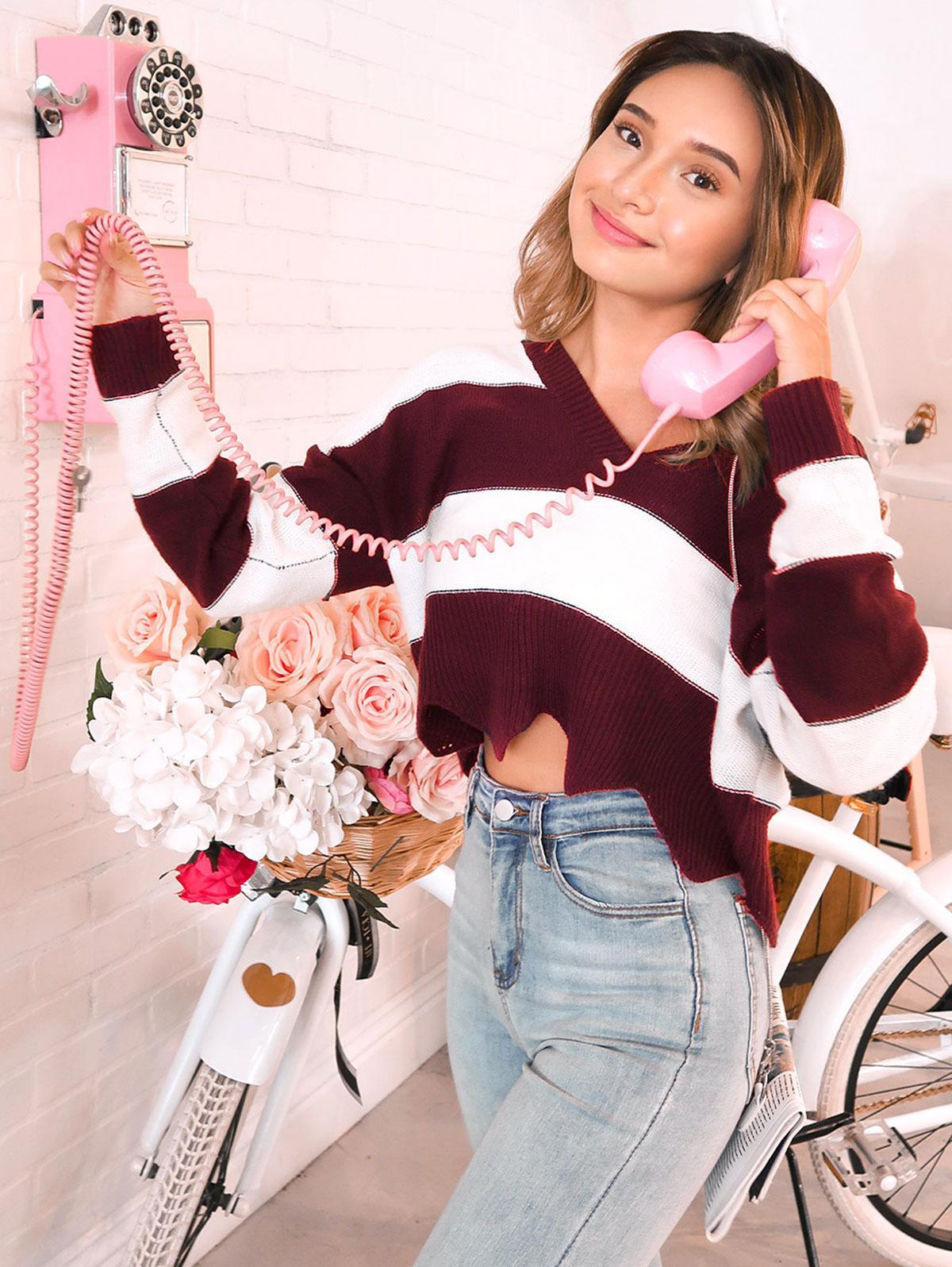 ZAFUL x Alexis Ricecakes Two Tone Striped Plunge Drop Shoulder Sweater, Multi-b