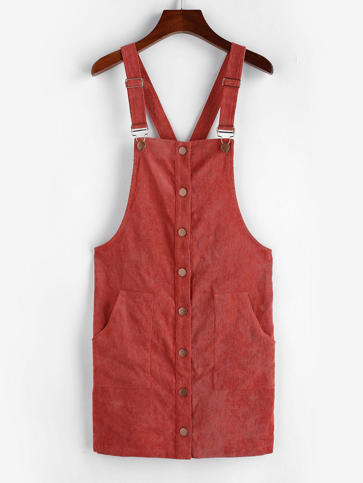 ZAFUL Corduroy Pocket Button Front Overall Dress thumbnail