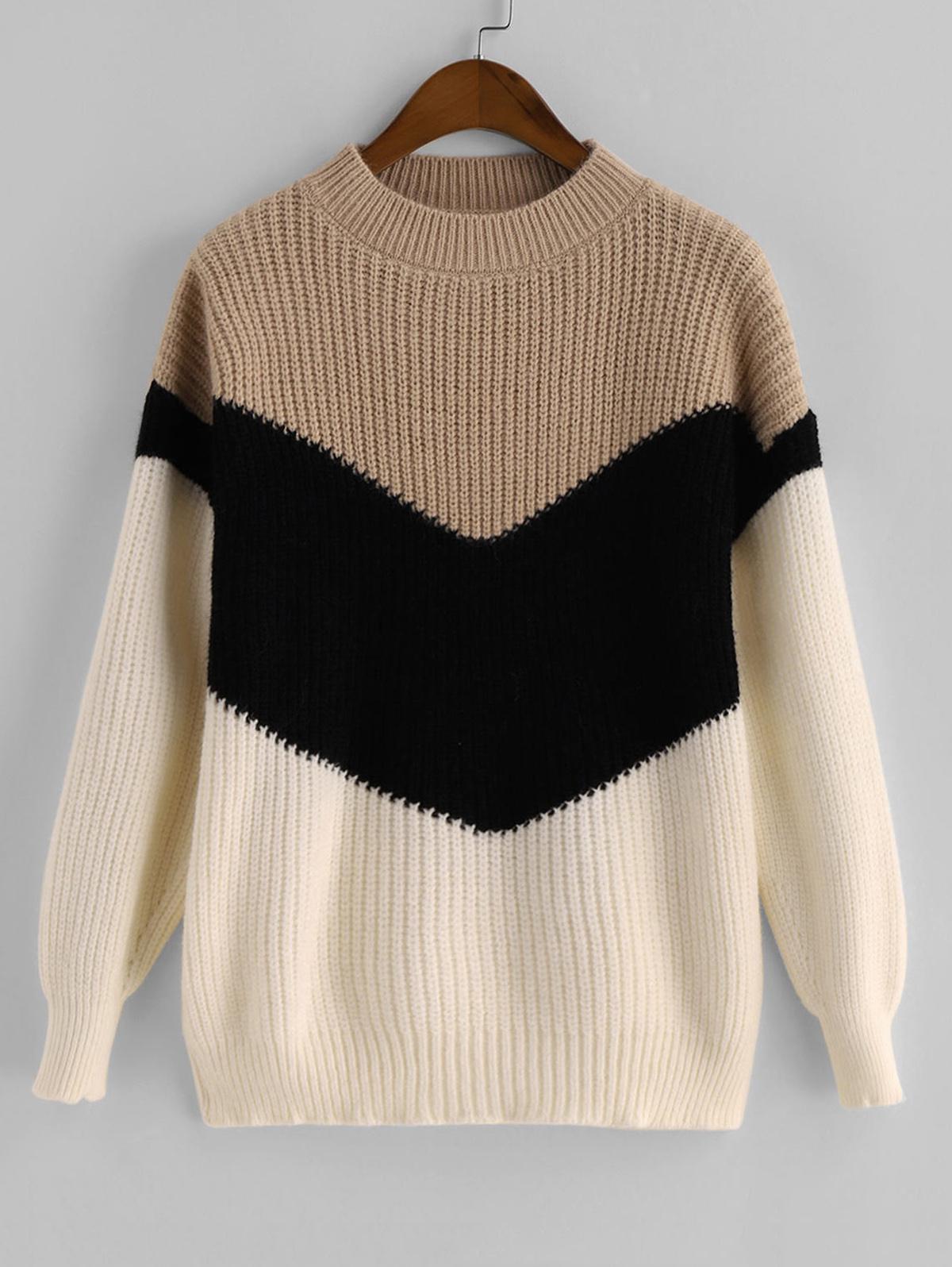 Mock Neck Colorblock Pullover Sweater