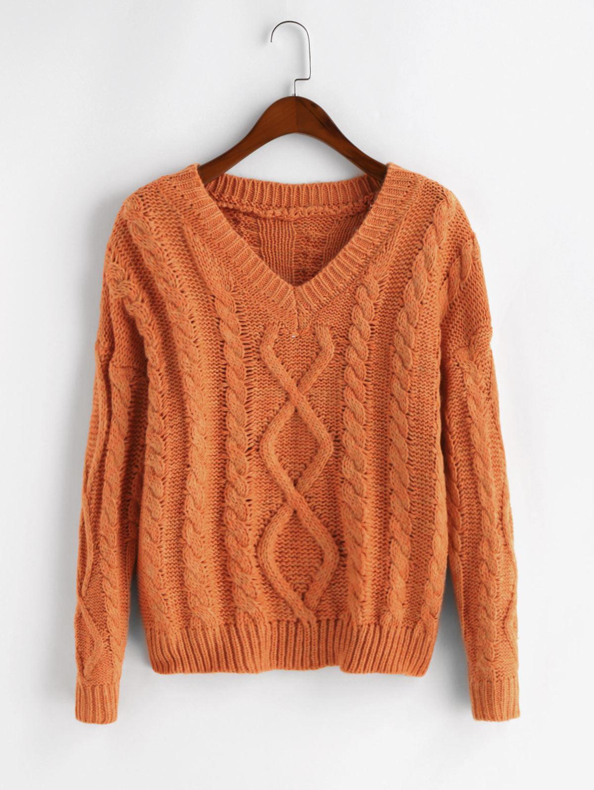 Drop Shoulder Cable Knit V Neck Pullover Sweater