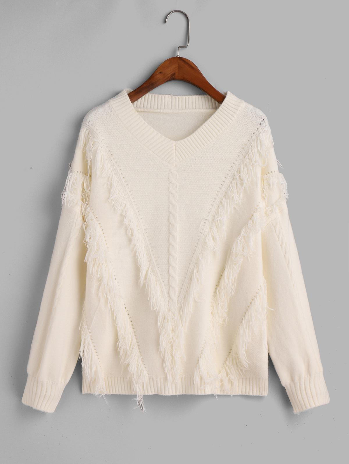 V Neck Fringed Cable Knit Pullover Sweater, Beige