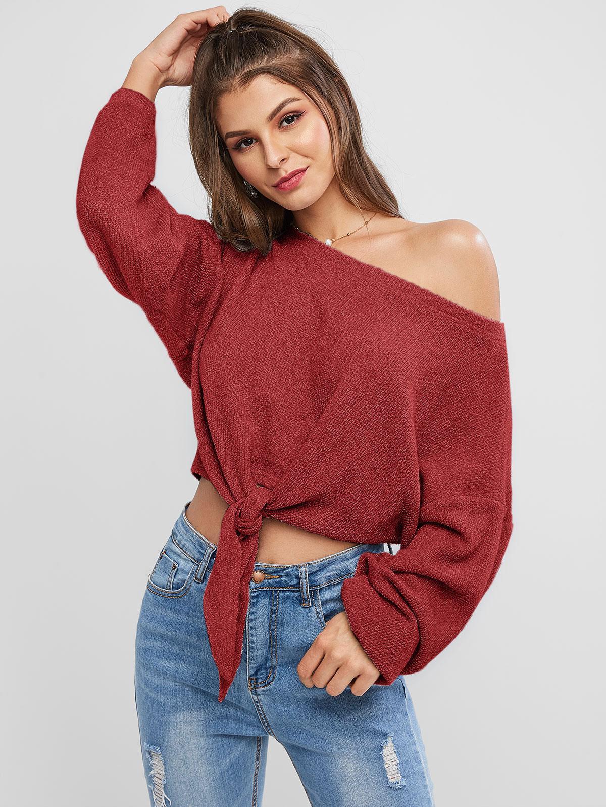 ZAFUL Self-tie Oversized Sweater thumbnail