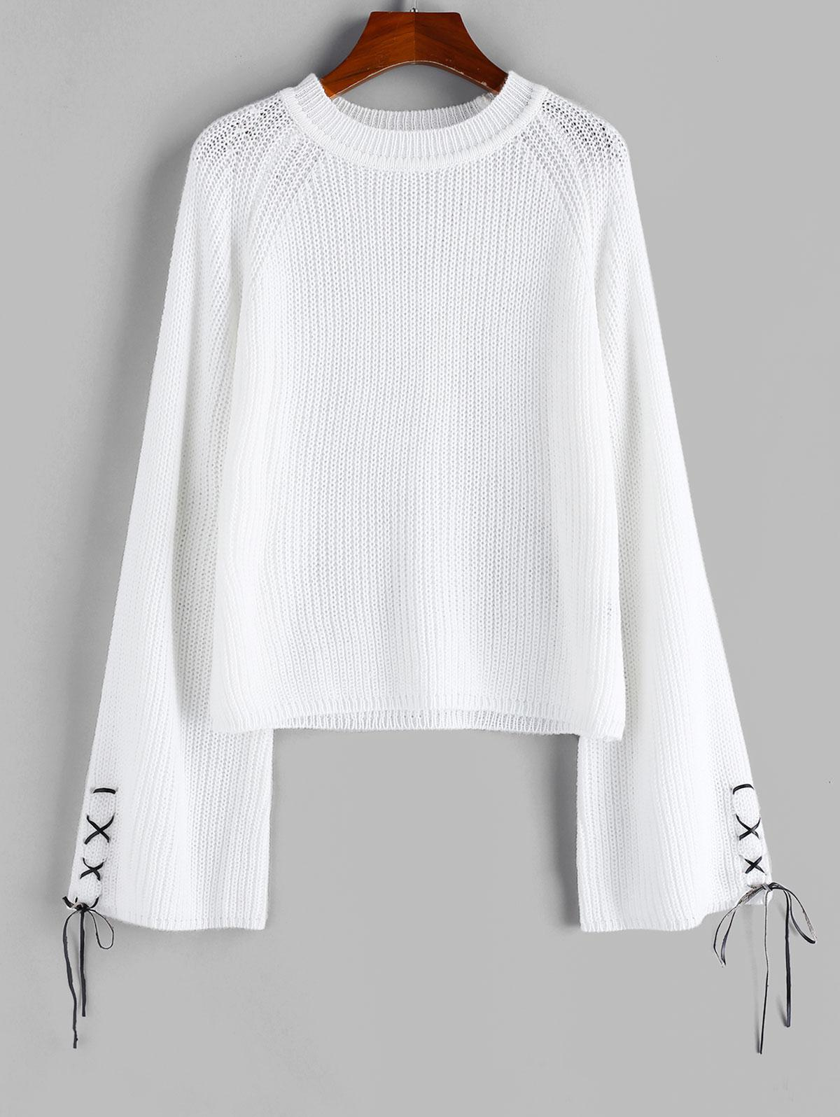 ZAFUL Lace Up Raglan Sleeve Jumper Sweater