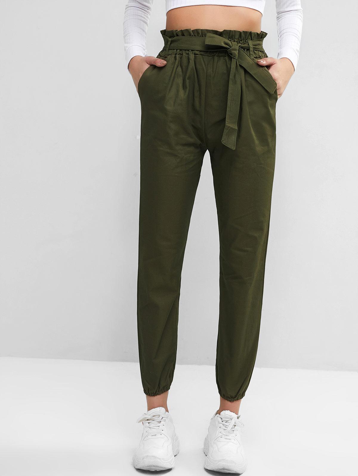 Solid Pockets Belted Paperbag Jogger Pants