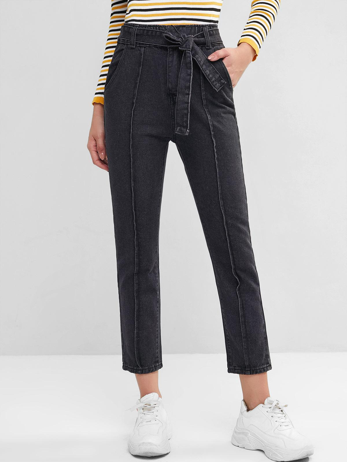 High Waisted Belted Pockets Straight Jeans, Black