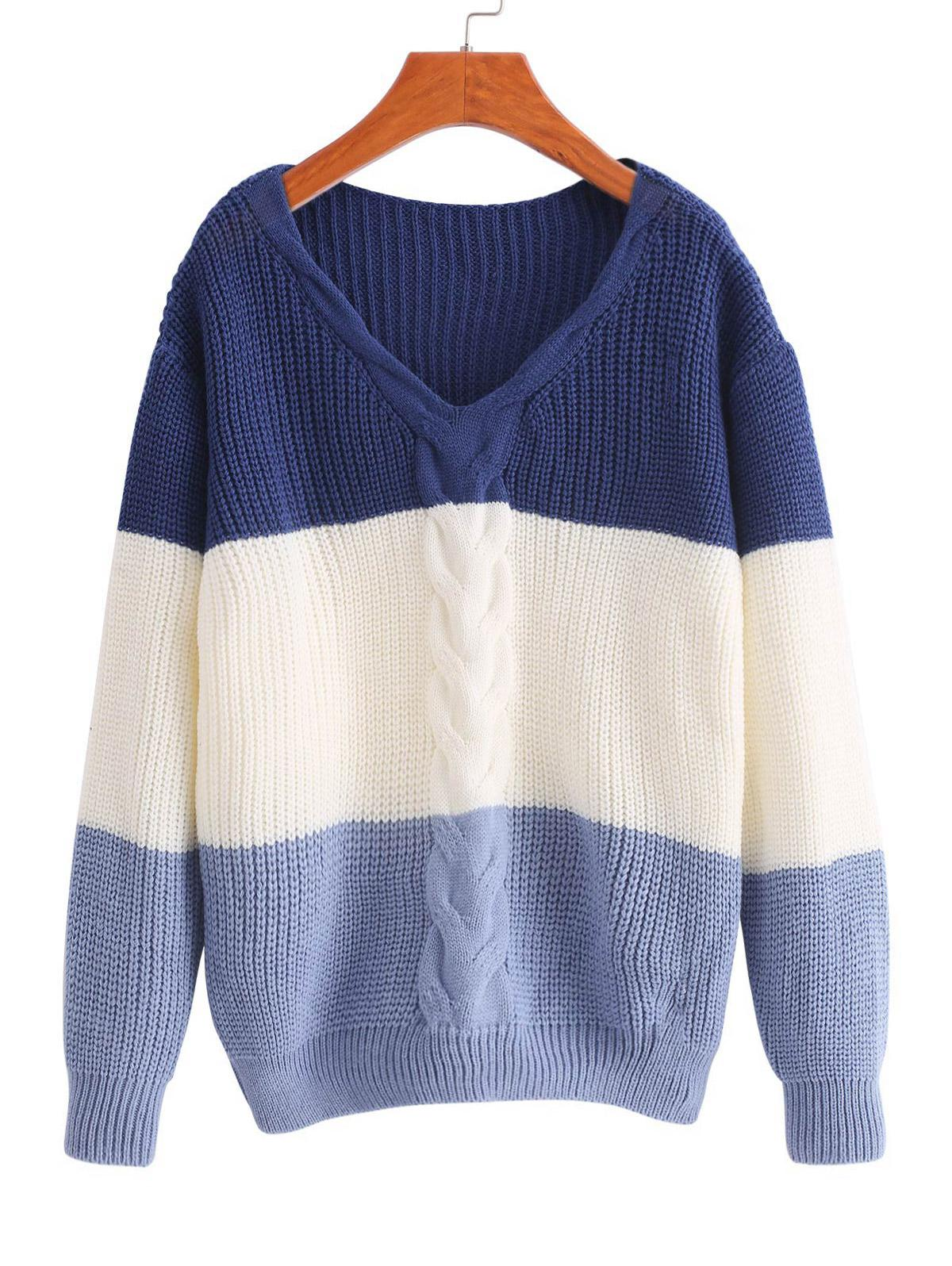 V Neck Colorblock Cable Knit Sweater