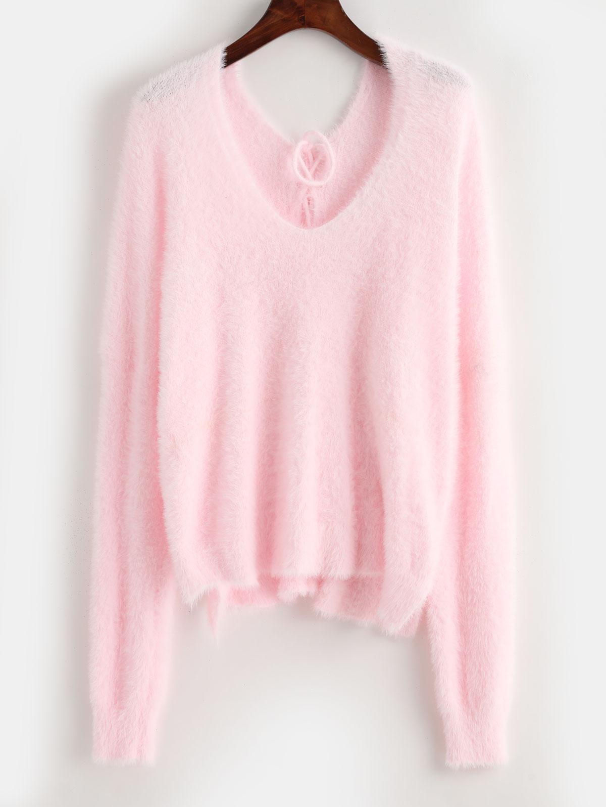 ZAFUL X Luna Montana Back Lace Up Side Slit Fluffy Sweater
