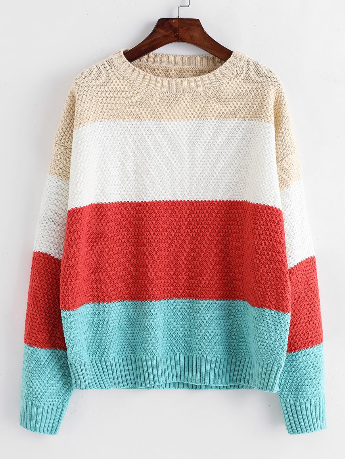ZAFUL Color-blocking Drop Shoulder Textured Sweater
