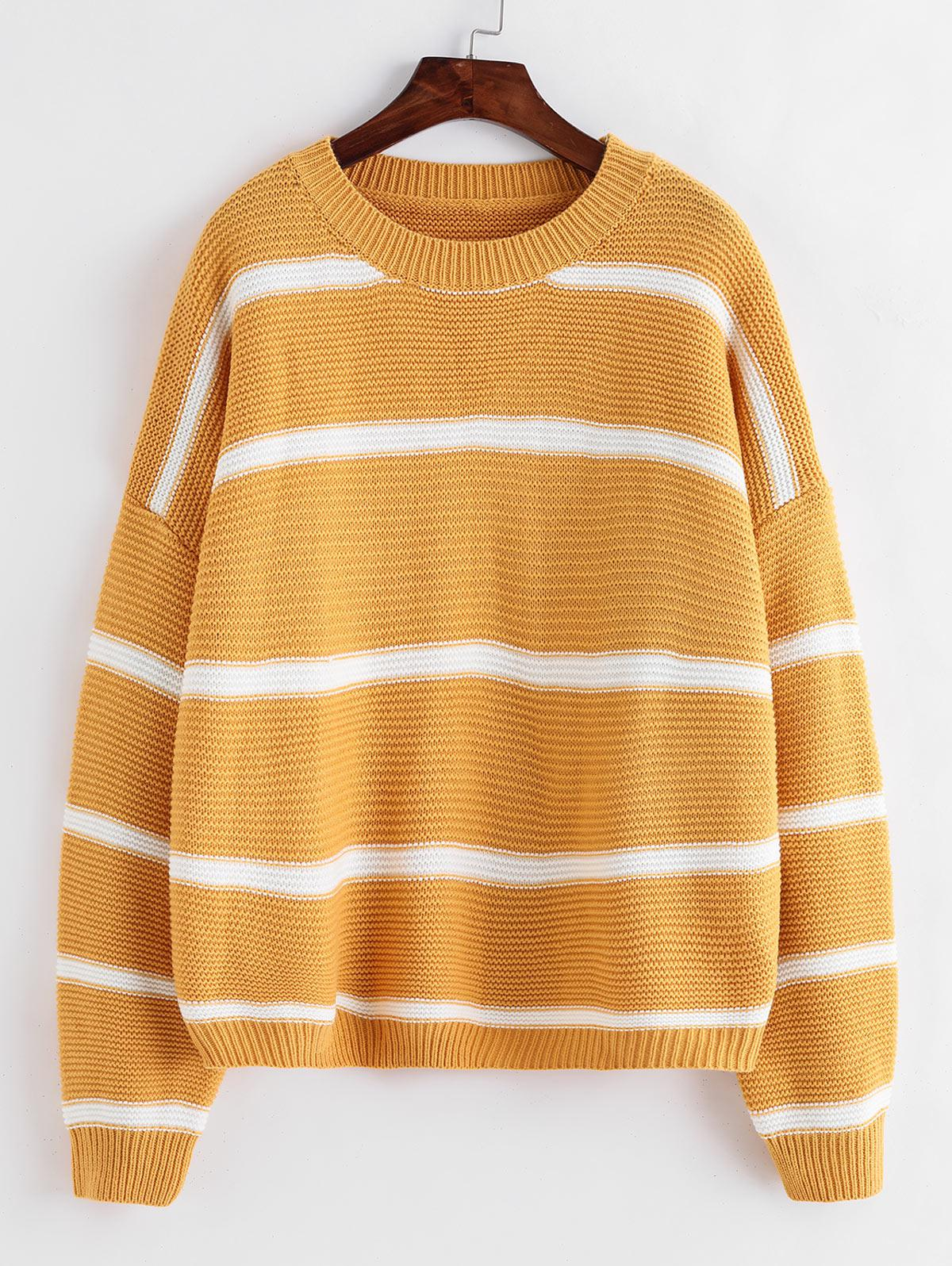 ZAFUL Striped Drop Shoulder Oversized Textured Sweater