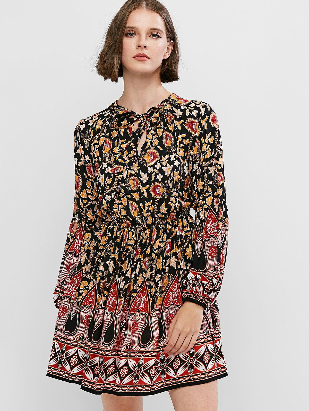 ZAFUL Bohemian Print Lantern Sleeve Mini A Line Dress