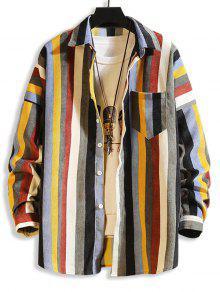ملون جيوب مخططة قطرة الكتف كودري قميص - متعددة-b L