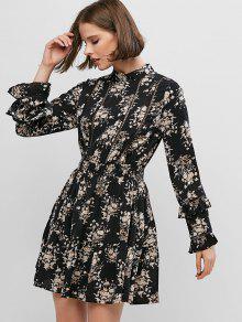 الأزهار طباعة الكروشيه تقليم فستان طويل الأكمام البسيطة - أسود M