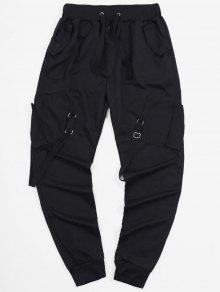 جيوب الشريط طويل سروال مطاطا الرياضة عداء ببطء - أسود M