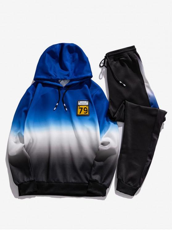 Ombre Print Applique Hoodie und Jogger Pants Sport Anzüge - Blau S