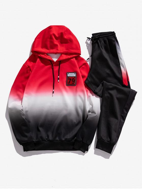 Sudadera con capucha y apliques estampados Ombre Pantalones deportivos - Rojo S
