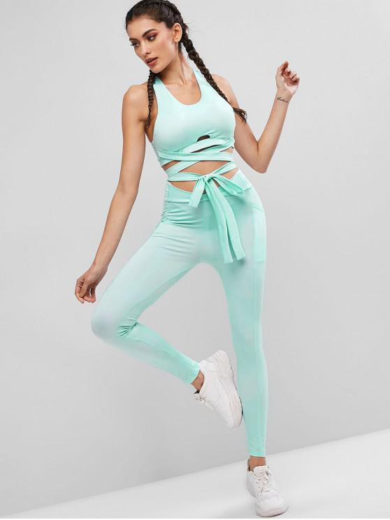 latest Racerback Criss Cross Sports Bra Two Piece Suit - ROBIN EGG BLUE L