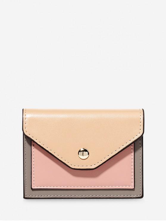 trendy Color-blocking PU Card Wallet - DEEP PEACH