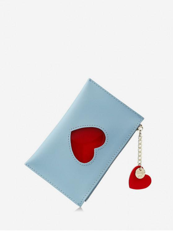 buy Heart Pattern Pendant Card Coin Purse - BLUE IVY