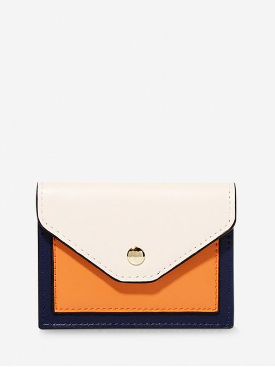 lady Color-blocking PU Card Wallet - WARM WHITE
